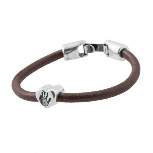 Heart Hand Print Bead Leather Bracelet